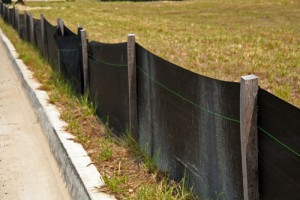 Silt fence on construction site