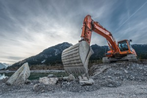 Digger on gravel